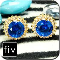 Spinki do mankietów złoty kolor z niebieskiego kryształu