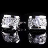 Spinki do mankietów luksusowe cyrkonia srebro