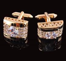 Spinki do mankietów luksusowe cyrkon złota