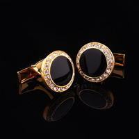 Spinki do mankietów okrągłe z czarnymi kryształkami