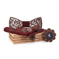 Drewniane spinki do mankietów z muszką Perspektywa