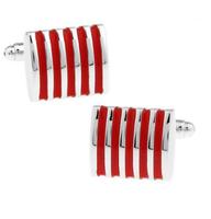 Spinki do mankietów czerwone stalowe