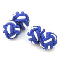 Spinki do mankietów elastyczne niebieski białe węzły