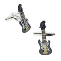 Czarna spinki do mankietów gitara elektryczna