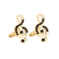 Spinki do mankietów ze złotym kluczem skrzypcowym