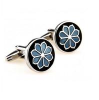 Spinki do mankietów niebieski kwiat
