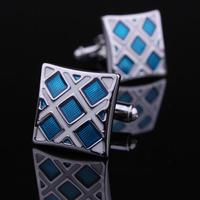 Spinki do mankietów niebieski i srebrny