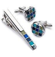 Spinki do mankietów z klipsem do krawatów niebiesko-mozaikowych