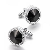 Spinki do mankietów wielki czarny kryształ