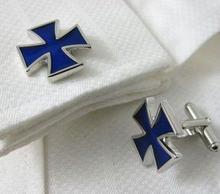 Spinki do mankietów niebieski krzyż