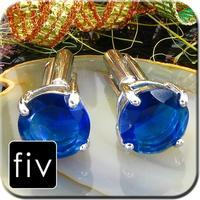 Spinki do mankietów kolor srebrny z niebieskim pierścieniem kryształowym