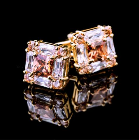 Spinki do mankietów różowe złoto - 1