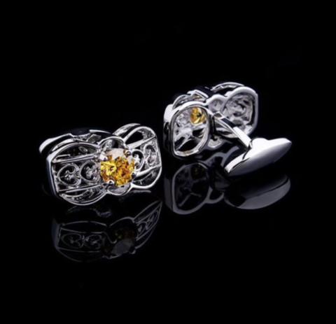 Spinki do mankietów żółty kryształ