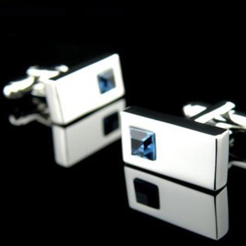 Spinki do mankietów - niebieski kryształ