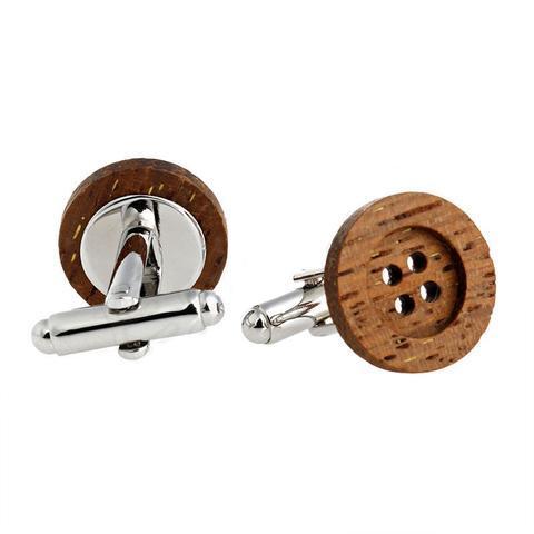 Spinki do mankietów przycisk drewniane - 1