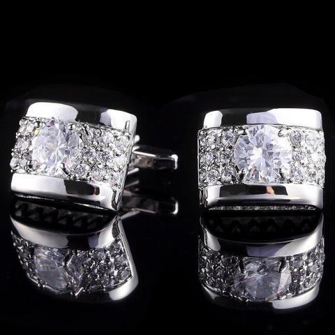 Spinki do mankietów luksusowe cyrkonia srebro - 1