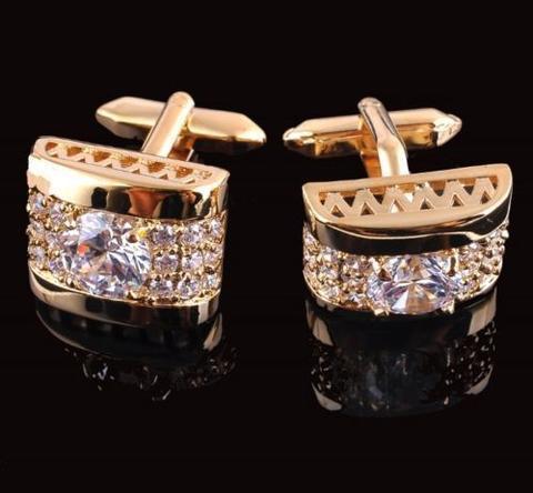 Spinki do mankietów luksusowe cyrkon złota - 1