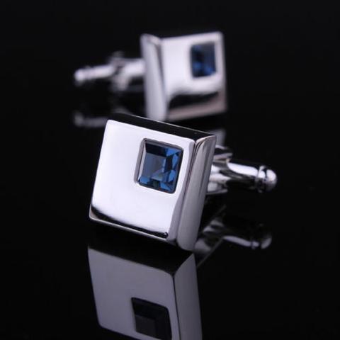 Spinki do mankietów - ciemny niebieski kryształ - 1