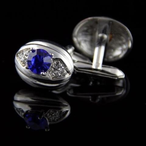 Spinki do mankietów owalne z niebiesko-fioletowy kamień