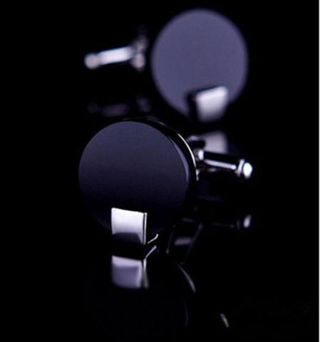 Spinki do mankietów okrągłe czarne - 1