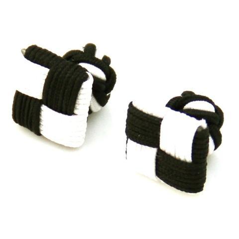 Spinki do mankietów elastyczne czarne i białe