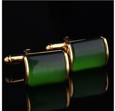 Spinki do mankietów zielony kryształ