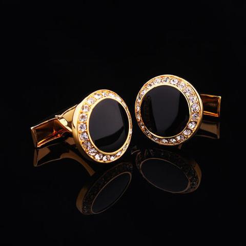 Spinki do mankietów okrągłe z czarnymi kryształkami - 1