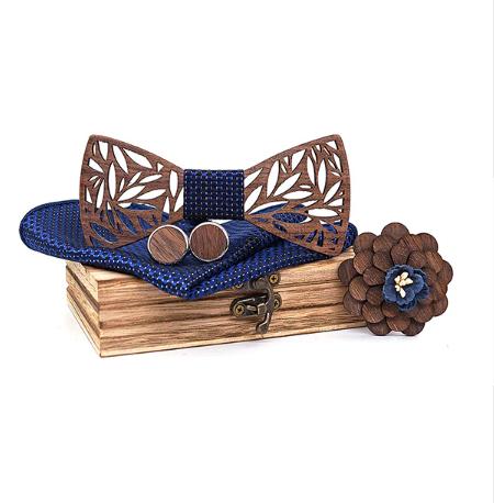 Drewniane spinki do mankietów z motylem