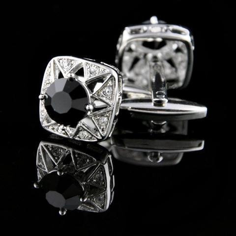 Spinki do mankietów czarny kamień