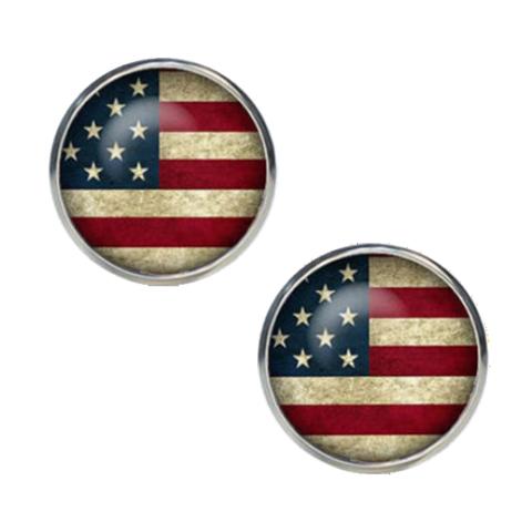Spinki do mankietów w kolorze amerykańskich flag - 1