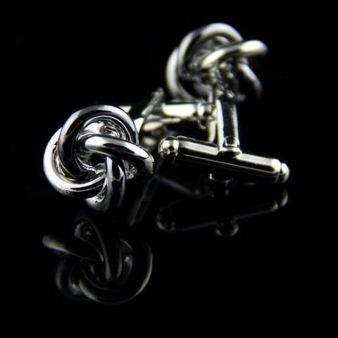 Spinki do mankietów czarny i srebrny węzłów