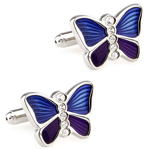 Spinki do mankietów Butterfly niebiesko-fioletowe