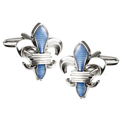 Spinki do mankietów Lepton Blue Fleur De Lis - 1