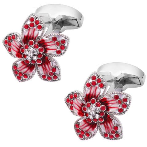 Spinki do mankietów z rubinowym kwiatkiem