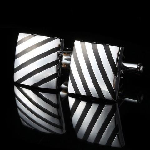 Spinki do mankietów kwadrat z czarnymi pasami - 1