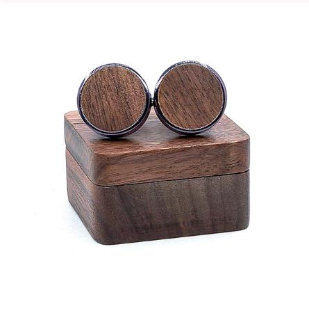 Spinki do mankietów Drewniany krąg