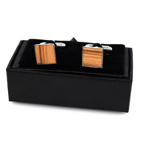 Spinki do mankietów drewniany kwadrat - 1