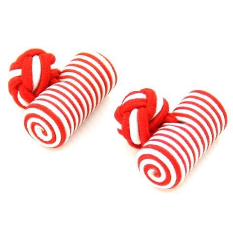 Spinki do mankietów elastyczne czerwony i biały