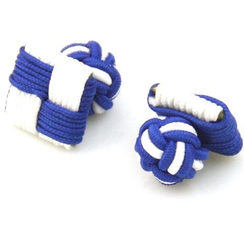 Spinki do mankietów elastické niebieski i biały kwadrat