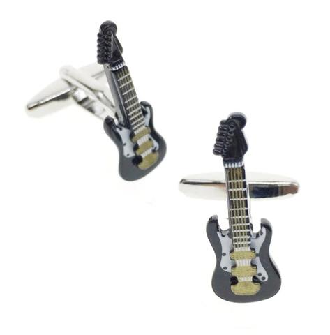 Czarna spinki do mankietów gitara elektryczna - 1