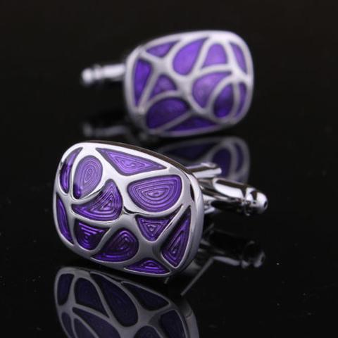 Spinki do mankietów fioletowy mozaiki - 1