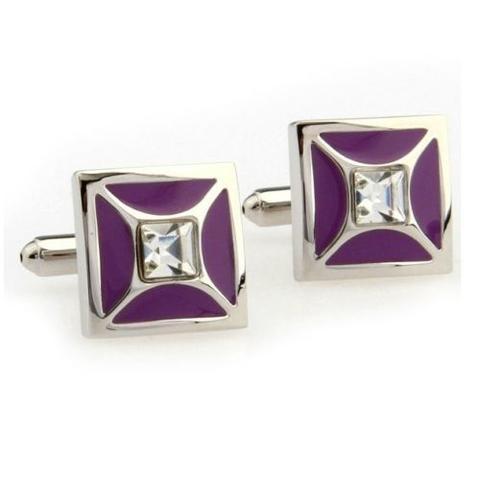 Spinki do mankietów purpurowy z kryształem - 1