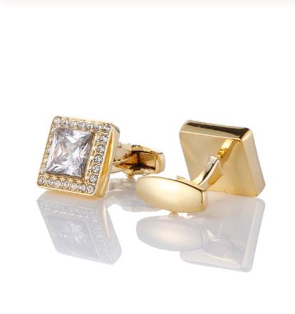 Spinki do mankietów luksusowy złoty kryształ