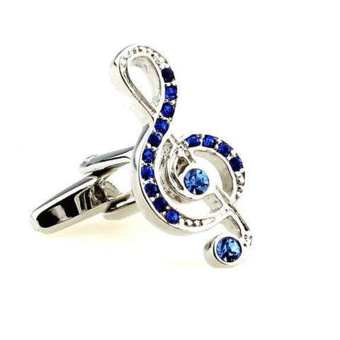 Spinki do mankietów klucz wiolinowy i niebieskie cyrkonie - 1