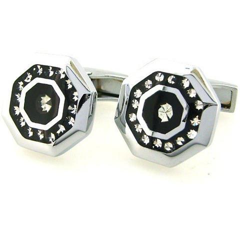 Spinki do mankietów stalowe ośmioboczna z kryształkami - 1