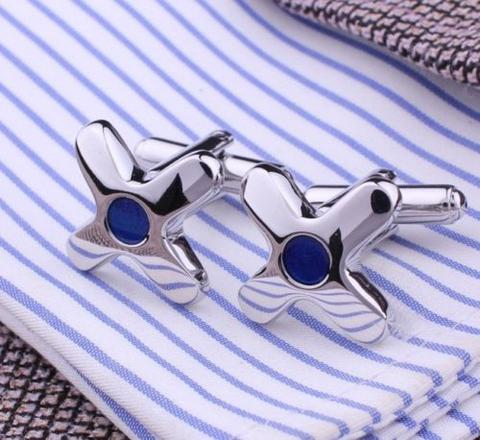 Spinki do mankietów rozgwiazda z niebieskimi oczami - 1