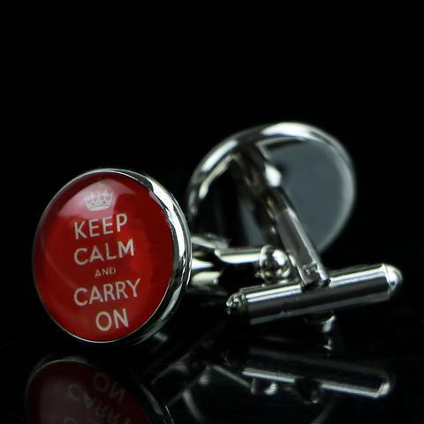 Spinki do mankietów Keep calm and carry on