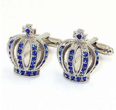 Spinki do mankietów korona niebiesko - 1