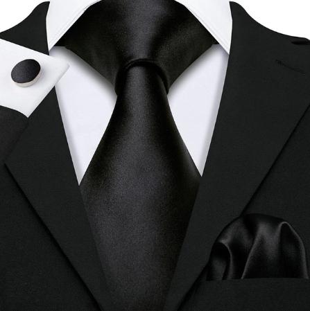 Spinki do mankietów i krawat czarne Amfitríta