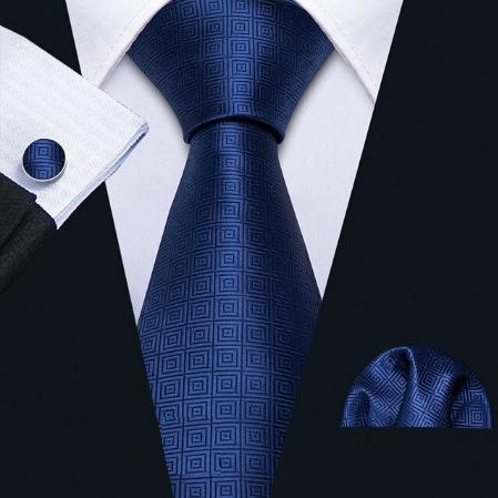 Spinki do mankietów i krawat niebieski Aglaia